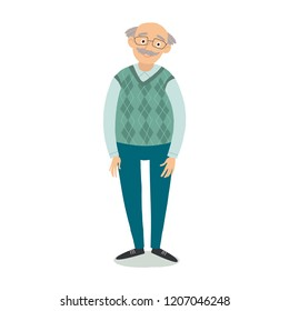 Senior man standing. Old man wearing glasses. Grandfather with grey hair, mustache, wearing sweater. Cartoon grandpa. Cartoon vector hand drawn eps 10 flat illustration isolated on white background