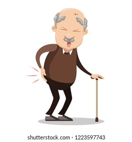 Senior man suffering from pain in hip. Sad elderly man holding walking stick. Unhealthy disabled grandpa cartoon animated personage. Old male patient with rheumatic fever vector illustration.