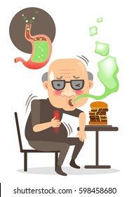 Senior man with symptoms of burping and burning in the chest. Sitting on a stool eating . stomach problem image. isolated on a white background.Cartoon vector illustration