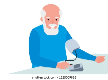 Senior man taking his blood pressure at home. Healthy lifestyle. Flat cartoon illustration vector set. Active sport concept set