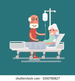 A senior man visits a patient lying on hospital bed - Grandfather visits sick grandmother in Flat Design