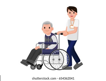 Senior man in wheelchair with careful man. Young volunteer caring for elderly man. Adult helping and supporting old aged male. Isolated Vector.