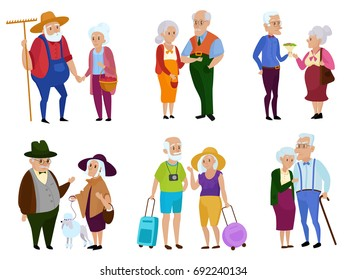 Senior man and woman activities. Grandparents day. Grandpa and grandma. Elderly couple. Cartoon vector illustration.