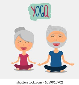 Senior man and woman doing yoga, smiling during yoga exercises, lotus pose, health concept of old people, healthy old people's lifestyle, cartoon illustration for poster or logo, vector illustration