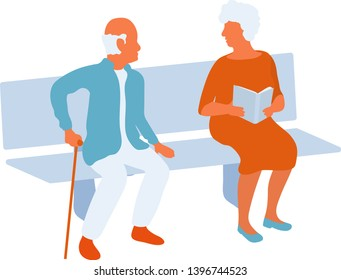 Senior man and woman sitting on park bench and looking at eath other. Old friends or couple meeting in a city park. Vector flat characters isolated on white background in EPS 10