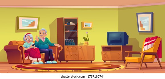 Senior man and woman talking by mobile phone sit on couch in nursing home room interior. Old lady wrapped in plaid and grey haired pensioner relax on sofa use smartphone, Cartoon vector illustration
