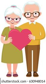 Senior married couple of lovers in full length hold the symbol of love heart cartoon vector illustration