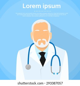 Senior Medical Doctor Profile Icon Male Portrait Flat Design Vector Illustration