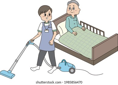 Senior men and male helpers on the bed with cleaning assistance
