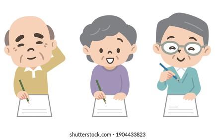 Hommes et femmes de rang supérieur rédigeant des documents