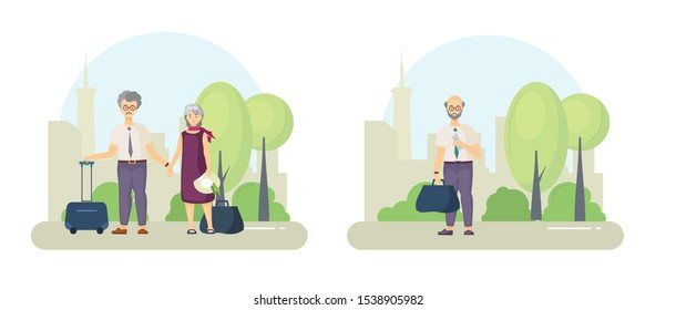 Senior, old couple travelling with suitcase. Grandfather and grandmother with luggage. Elderly man with train ticket and luggage bag is standing in park cartoon vector illustration