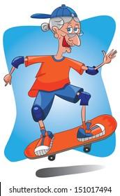 Senior old lady granny skateboarding.