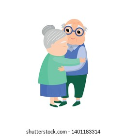 Senior old woman give a lovely hug to senior husband