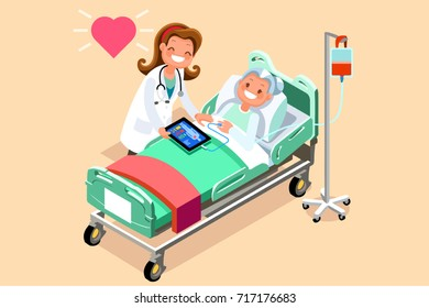 Senior patient in day hospital bed. A doctor taking care of a sick elderly woman lying in a medical bed. Vector hero nurse illustration in a flat style images.