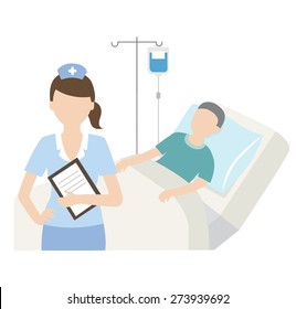 senior patient in hospital bed with nurse