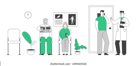 Senior Patients Man and Woman Sitting in Clinic or Hospital Hall Waiting Doctor Appointment for Health Care Treatment Reading Newspaper and Smartphone. Cartoon Flat Vector Illustration, Line Art Style