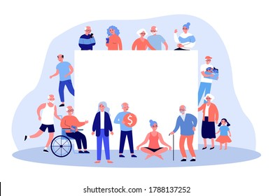 Senior people around blank banner. Crowd of grey haired men and women, old couple flat vector illustration. Retirement, elderly age concept for banner, website design or landing web page