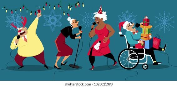 Senior people celebrating winter holidays and singing karaoke, EPS 8 vector illustration