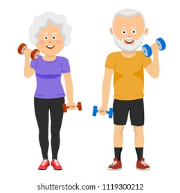 Senior people couple with dumbbells smiling. New training program for pensioners. Life and sports.