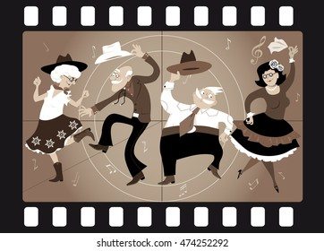 Senior people dressed in traditional western costumes dancing square dance or contradance in an old movie frame, EPS 8 vector illustration, no transparencies