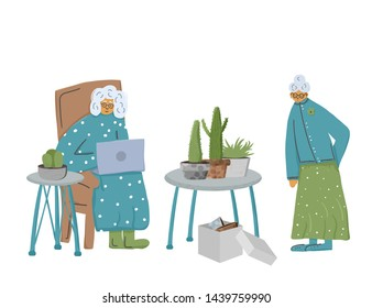 Senior people with flower. Floriculture. Different retired persons isolated on white background. Vector flat illustration.