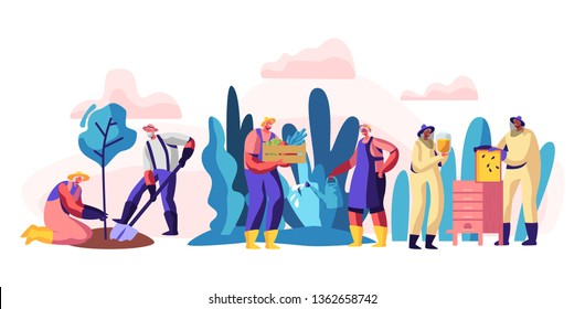 Senior People Gardening and Beekeeping Hobby. Aged Male and Female Characters Planting Tree, Harvesting, Caring of Bees. Active Lifestyle of Retired Men and Women. Cartoon Flat Vector Illustration