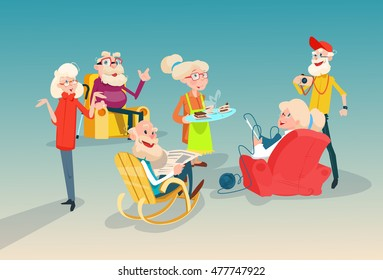 Senior People Group Friends Meeting Communication Flat Vector Illustration