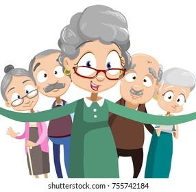 Senior People Group Making Selfie Photo Together. Flat Vector Illustration. Isolated on white background