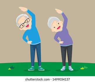 Senior people and gymnastics. Elderly couple. Grandparents doing exercises. Sport. Morning exercises.