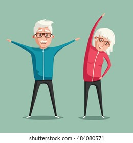Senior people and gymnastics. Elderly couple. Grandparents doing exercises. Sport. Morning exercises. Cartoon vector illustration