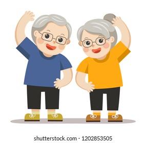 Senior people and gymnastics.  Grandparents doing exercises. Elderly couple.