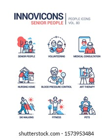 Senior people line design style icons set. Social issues, elderly care idea. Volunteering, medical consultation, nursing home, blood pressure control, art therapy, ski walking, fitness, pets