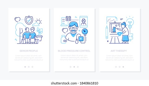 Senior people line design style web banners with copy space for text. Social issues, elderly care. Retired couple, blood pressure control, art therapy illustrations. Healthcare and active lifestyle