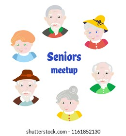 Senior people meeting card or invitation. Vector graphic illustrationb