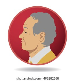 senior people profile icon, avatar icon, aged person face viewed from side