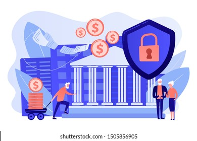 Senior people savings fund, pensioners earnings. Retirement investments, retirement budget development, contribution in pension account concept. Bright vibrant violet vector isolated illustration