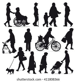 Senior people silhouettes collection - Retired people in every day life situations isolated