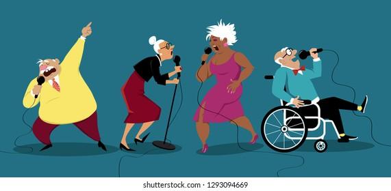 Senior people singing karaoke, EPS 8 vector illustration