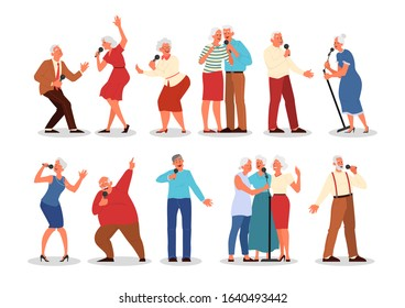 Senior people singing karaoke set. Old peope singing song with microphone. Old people lifestyle concept. Seniors relaxing at karaoke bar. Isolated vector illustration in cartoon style