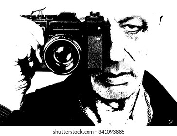 Senior photographer with old film camera