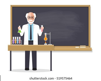 Senior science teacher, scientist professor standing in front of blackboard teaching student in classroom at school, college or university. Flat design people characters.