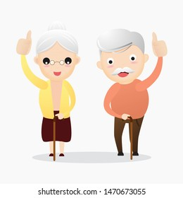 Senior showing thumbs up like. Happy old pensioner character design.Group of senior friends.Vector, illustration