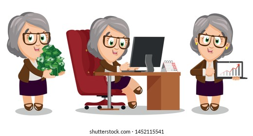 Senior silver haired woman passionating about her office work. Aged spectacled lady keeping lots of money, sitting at computer desk, holding laptop with diagram and showing thumb up. Cartoon set.