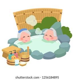 Senior takes japanese an open-air bath