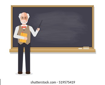 Senior teacher, professor standing in front of blackboard teaching student in classroom at school, college or university. Flat design people characters.