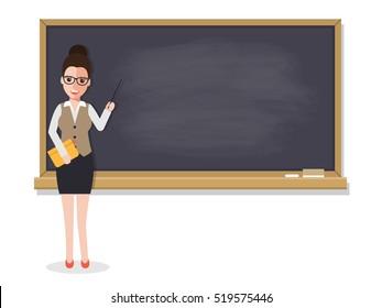 Senior teacher, professor standing in front of blackboard teaching student in classroom at school, college or university. Flat design people characters.