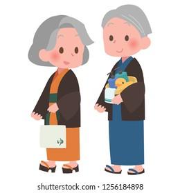 Senior walking yukata style