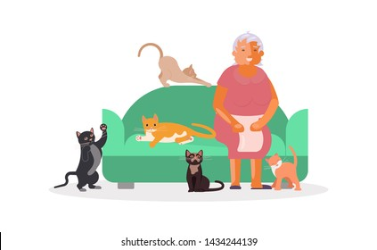 Senior woman with a lot of cats sitting on sofa. Happy old lady pets owner. Flat Art Vector illustration