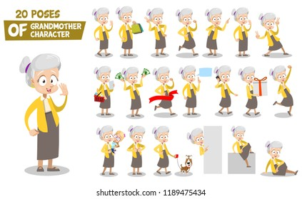 Senior woman character animated set. Granny with shopping bags and big gift box. Running, sitting and standing in various poses. Doing thumb up, v sign , hand up and hello gestures vector illustration