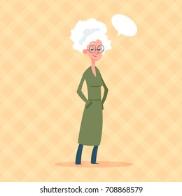Senior Woman With Chat Bubble Modern Grandmother Full Length Lady Flat Vector Illustration